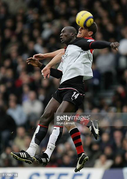 Craig Short of Blackburn and Papa Bouba Diop of Fulham challenge in the air during the Barclays Premiership match between Fulham and Blackburn Rovers...