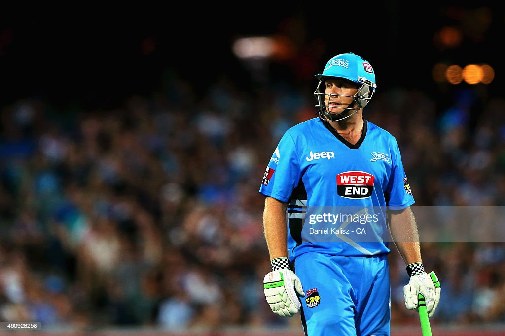 Craig Simmons of the Adelaide Strikers reacts after he is dismissed during the Big Bash League match between the Adelaide Strikers and the Hobart Hurricanes at Adelaide Oval on December 31, 2014 in Adelaide, Australia.