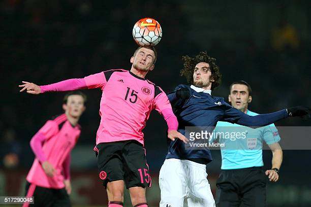 Craig Slater of Scotland and Adrien Rabiot of France during the Uefa U21 European Championship qualifier between France and Scotland at Stade Jean...
