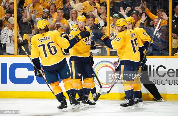 Craig Smith celebrates his goal with PK Subban Ryan Johansen and Filip Forsberg of the Nashville Predators against the Colorado Avalanche in Game One...