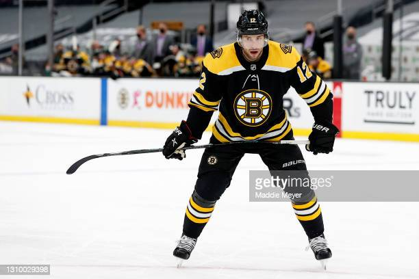 Craig Smith of the Boston Bruins looks on during the first period against the New Jersey Devils at TD Garden on March 30, 2021 in Boston,...