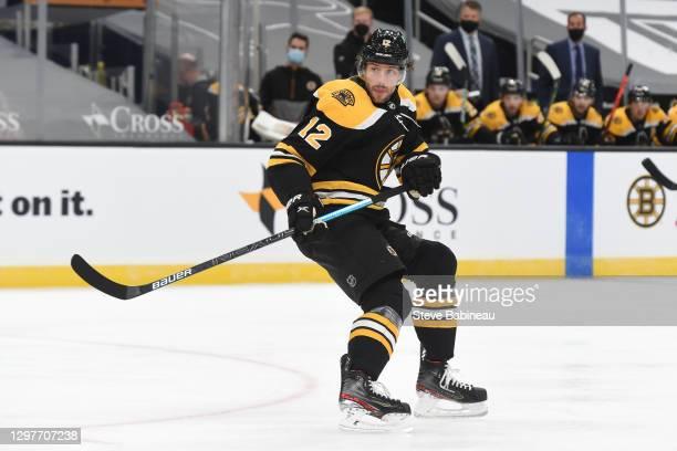 Craig Smith of the Boston Bruins skates against the Philadelphia Flyers at the TD Garden on January 21, 2021 in Boston, Massachusetts.