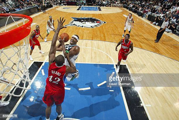 Craig Smith of the Minnesota Timberwolves puts up a shot over Elton Brand of the Philadelphia 76ers during the game on November 19 2008 at the Target...