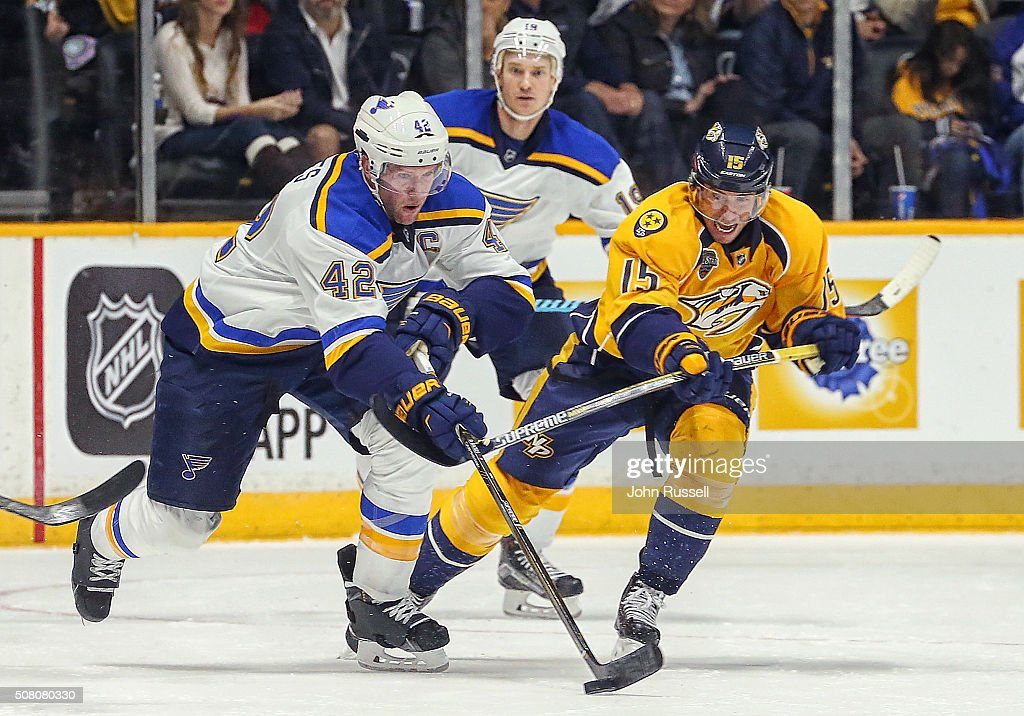 Craig Smith #15 of the Nashville Predators battles for the puck against David Backes #42 of the St. Louis Blues during an NHL game at Bridgestone Arena on February 2, 2016 in Nashville, Tennessee.