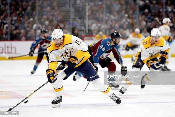 Craig Smith of the Nashville Predators brings the puck down the ice against the Colorado Avalanche in Game Six of the Western Conference First Round...