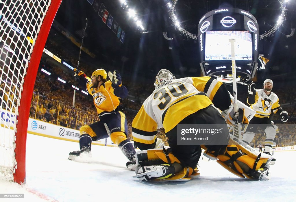 Craig Smith #15 of the Nashville Predators celebrates after scoring a third period goal against Matt Murray #30 of the Pittsburgh Penguins in Game Three of the 2017 NHL Stanley Cup Final at the Bridgestone Arena on June 3, 2017 in Nashville, Tennessee.