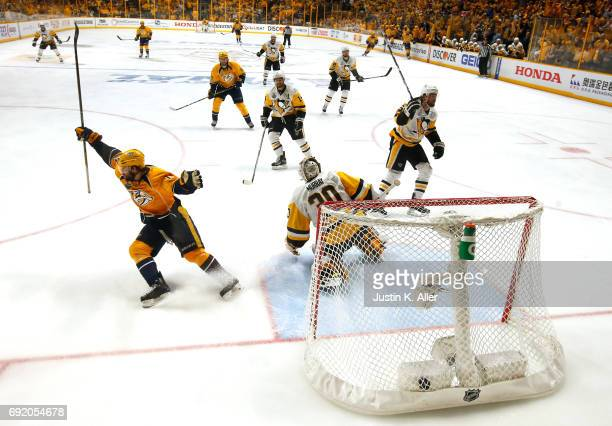Craig Smith of the Nashville Predators celebrates after scoring a third period goal against Matt Murray of the Pittsburgh Penguins in Game Three of...