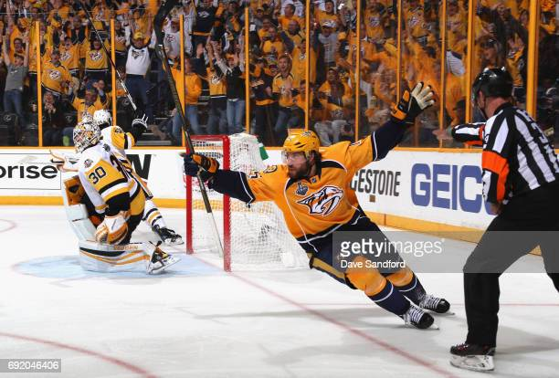 Craig Smith of the Nashville Predators celebrates his goal against the Pittsburgh Penguins during the third period of Game Three of the 2017 NHL...