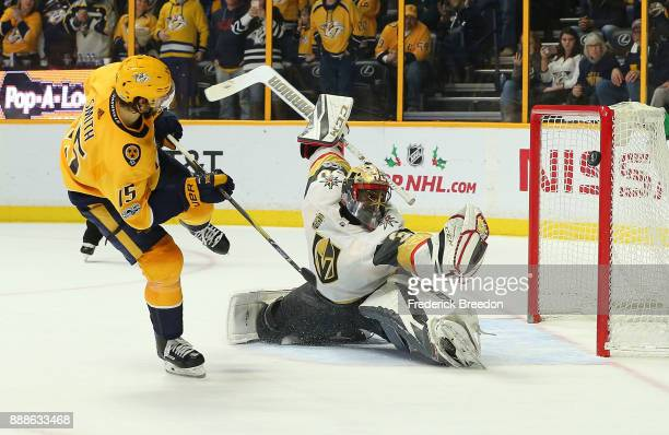 Craig Smith of the Nashville Predators hits the post against goalie Malcolm Subban during a shootout at Bridgestone Arena on December 8 2017 in...