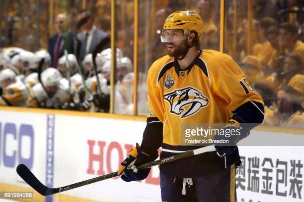 Craig Smith of the Nashville Predators looks on against the Pittsburgh Penguins during the first period in Game Three of the 2017 NHL Stanley Cup...