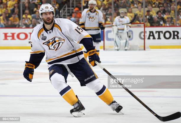 Craig Smith of the Nashville Predators plays against the Pittsburgh Penguins during the third period of Game Five of the 2017 NHL Stanley Cup Final...