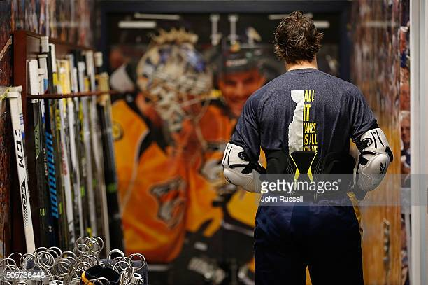 Craig Smith of the Nashville Predators prepares for warmups against the Chicago Blackhawks during an NHL game at Bridgestone Arena on January 19 2016...