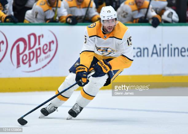 Craig Smith of the Nashville Predators skates against the Dallas Stars at the American Airlines Center on March 7, 2020 in Dallas, Texas.