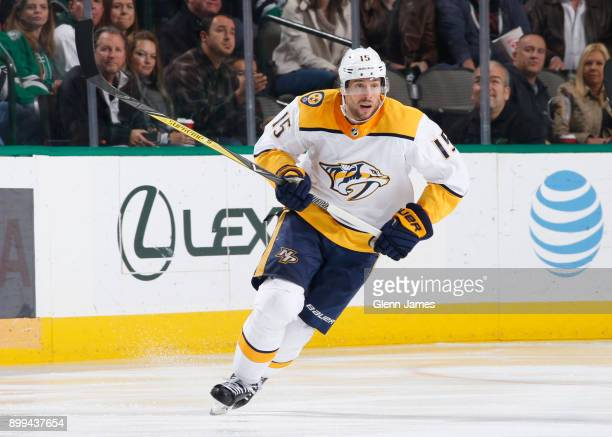 Craig Smith of the Nashville Predators skates against the Dallas Stars at the American Airlines Center on December 23 2017 in Dallas Texas