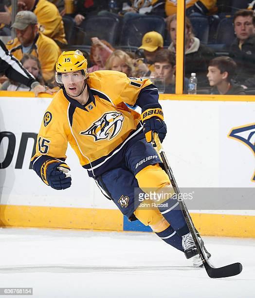 Craig Smith of the Nashville Predators skates against the Los Angeles Kings during an NHL game at Bridgestone Arena on December 22 2016 in Nashville...