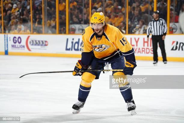 Craig Smith of the Nashville Predators skates against the Minnesota Wild during an NHL game at Bridgestone Arena on April 1 2017 in Nashville...