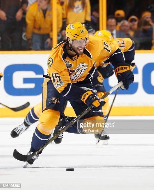 Craig Smith of the Nashville Predators skates against the Pittsburgh Penguins during Game Three of the 2017 NHL Stanley Cup Final at Bridgestone...