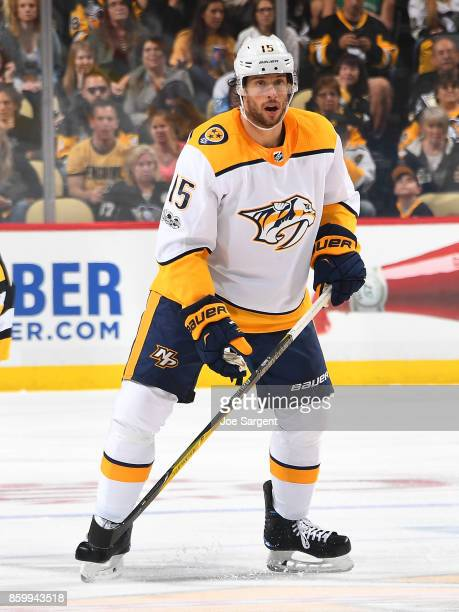 Craig Smith of the Nashville Predators skates against the Pittsburgh Penguins at PPG Paints Arena on October 7 2017 in Pittsburgh Pennsylvania