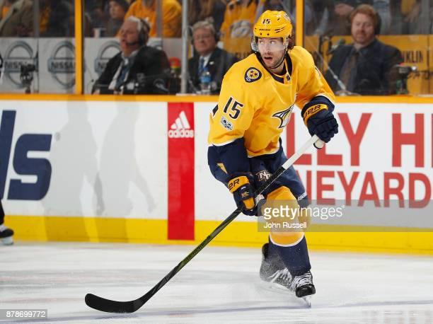 Craig Smith of the Nashville Predators skates against the Winnipeg Jets during an NHL game at Bridgestone Arena on November 20 2017 in Nashville...