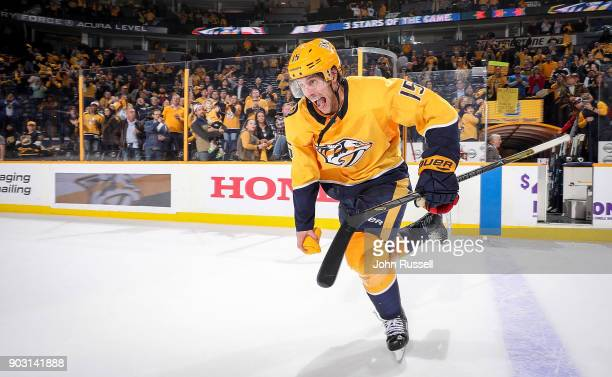 Craig Smith of the Nashville Predators skates as a Star of the Game after a 21 win against the Edmonton Oilers during an NHL game at Bridgestone...