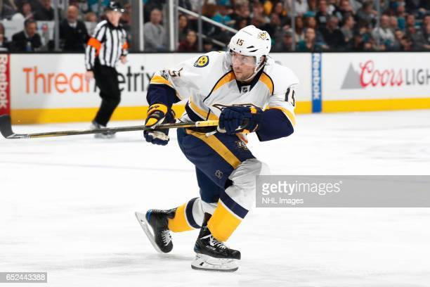 Craig Smith of the Nashville Predators skates during a NHL game against the San Jose Sharks at SAP Center at San Jose on March 11 2017 in San Jose...