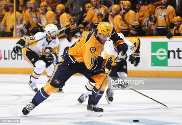 Craig Smith of the Nashville Predators skates with the puck on a breakaway to score during the third period of Game Three of the 2017 NHL Stanley Cup...