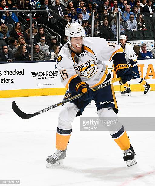 Craig Smith of the Nashville Predators turns up ice against the Toronto Maple Leafs during game action on February 23 2016 at Air Canada Centre in...