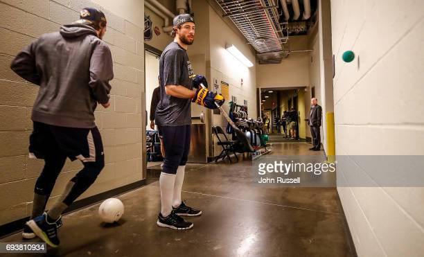 Craig Smith of the Nashville Predators warms up during practice prior to Game Five of the 2017 NHL Stanley Cup Final against the Pittsburgh Penguins...