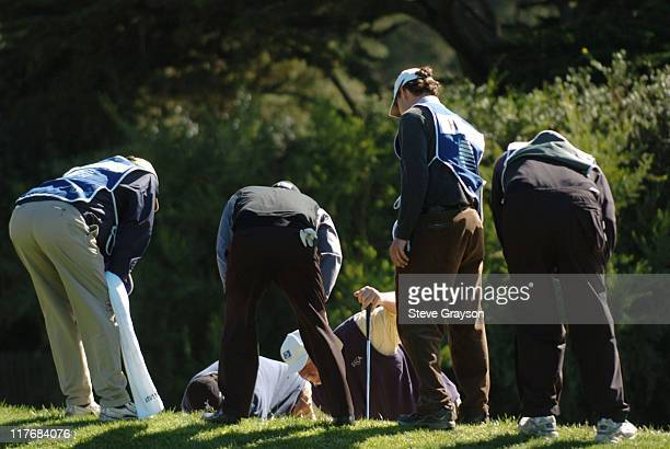 Craig Stadler and others search for a lost ball the final round of the PGA Tour's 2004 ATT Pebble Beach National ProAm at Pebble Beach Golf Links...