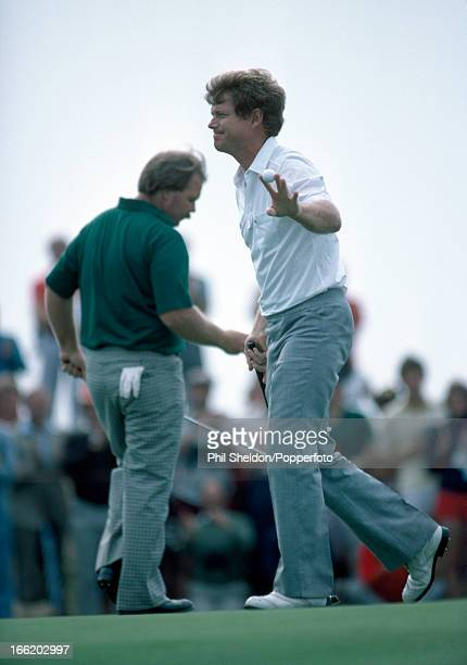 Craig Stadler and Tom Watson of the United States in action during the British Open Golf Championship held at the Royal Birkdale Golf Club in...