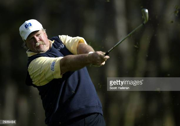 Craig Stadler hits a shot on the 9th hole at Spyglass Hill Golf Course during the second round of the AT&T Pebble Beach National Pro-Am on February...