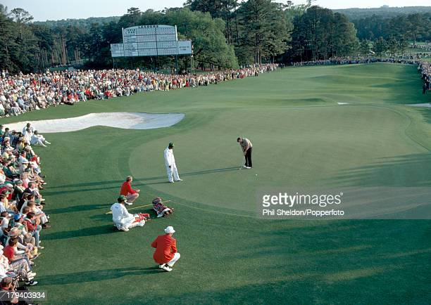 Craig Stadler of the United States putts on the 72nd hole of the US Masters Golf Tournament held at the Augusta National Golf Club in Georgia on 11th...