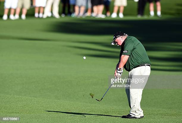 Craig Stadler of the US plays a shot during the first round of the 78th Masters Golf Tournament at Augusta National Golf Club on April 10, 2014 in...
