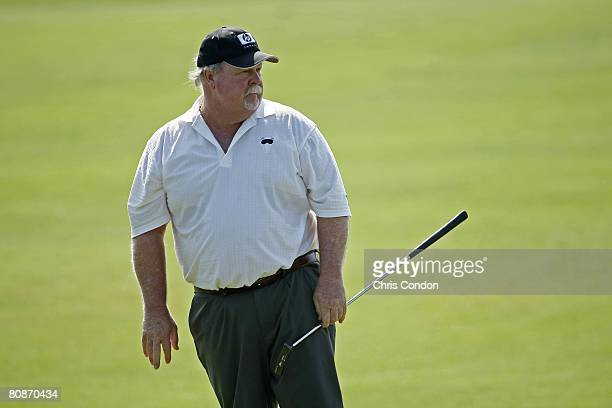 Craig Stadler waits on the second green during the second round of Legends Division at the Liberty Mutual Legends of Golf at Westin Savannah Harbor...