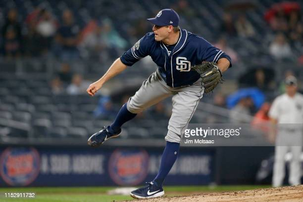 Craig Stammen of the San Diego Padres in action against the New York Yankees at Yankee Stadium on May 28, 2019 in New York City. The Padres defeated...