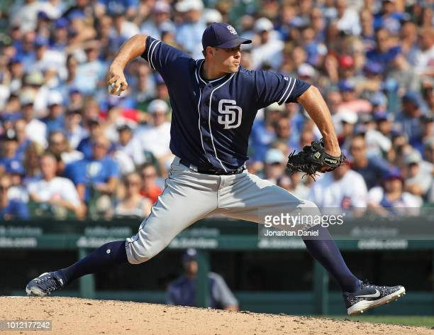 Craig Stammen of the San Diego Padres pitches against the Chicago Cubs at Wrigley Field on August 5, 2018 in Chicago, Illinois. The Padres defeated...
