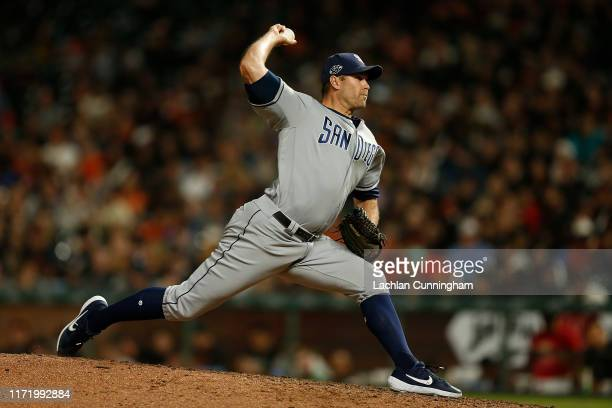 Craig Stammen of the San Diego Padres pitches against the San Francisco Giants at Oracle Park on August 31, 2019 in San Francisco, California.