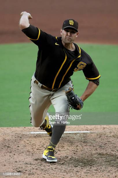 Craig Stammen of the San Diego Padres pitches during an intrasquad game for their summer workouts at PETCO Park on July 16, 2020 in San Diego,...