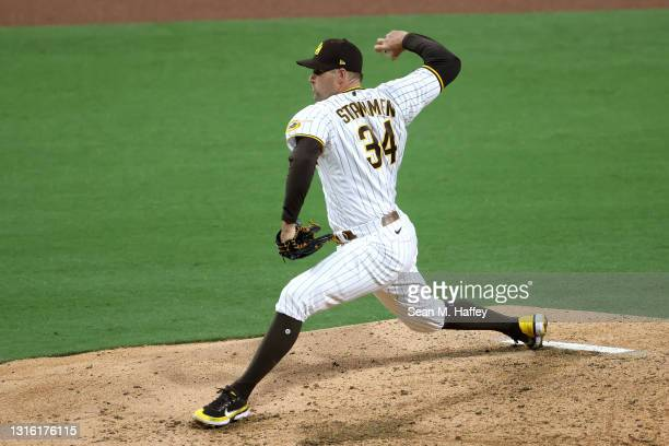 Craig Stammen of the San Diego Padres pitches during the fifth inning of a game against the Pittsburgh Pirates at PETCO Park on May 03, 2021 in San...