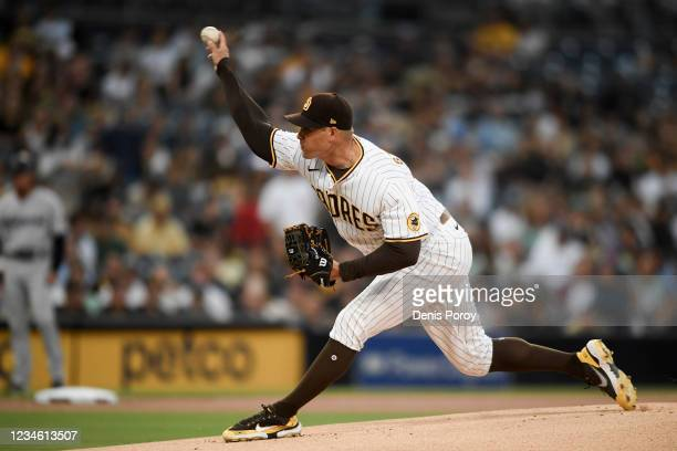 Craig Stammen of the San Diego Padres pitches during the first inning of a baseball game against the Miami Marlins at Petco Park on August 10, 2021...