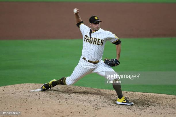 Craig Stammen of the San Diego Padres pitches during the game against the Houston Astros at Petco Park on August 21, 2020 in San Diego, California....