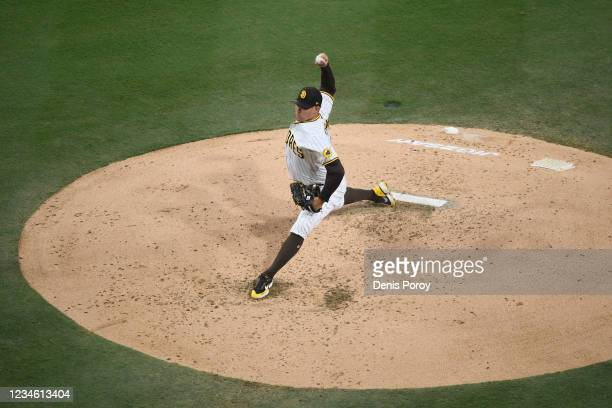 Craig Stammen of the San Diego Padres pitches during the second inning of a baseball game against the Miami Marlins at Petco Park on August 10, 2021...