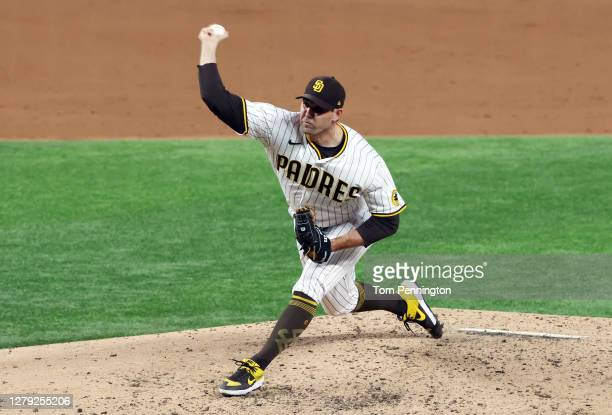 Craig Stammen of the San Diego Padres pitches during the third inning against the Los Angeles Dodgers in Game Three of the National League Division...