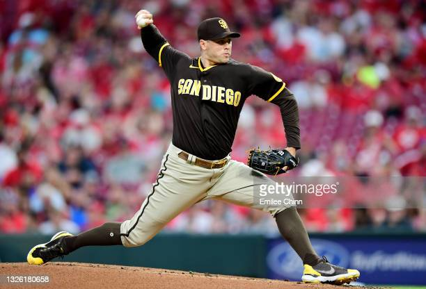 Craig Stammen of the San Diego Padres pitches in the first inning during their game against the Cincinnati Reds at Great American Ball Park on June...