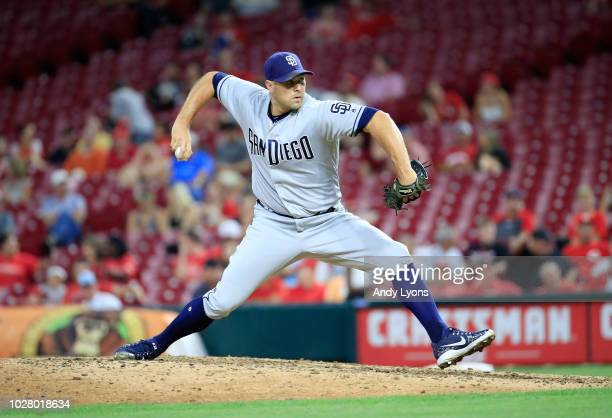 Craig Stammen of the San Diego Padres throws a pitch against the Cincinnati Reds at Great American Ball Park on September 6, 2018 in Cincinnati, Ohio.