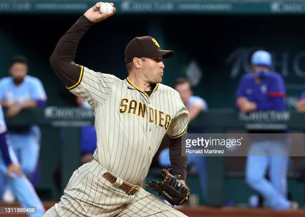 Craig Stammen of the San Diego Padres throws against the Texas Rangers in the first inning at Globe Life Field on April 11, 2021 in Arlington, Texas.