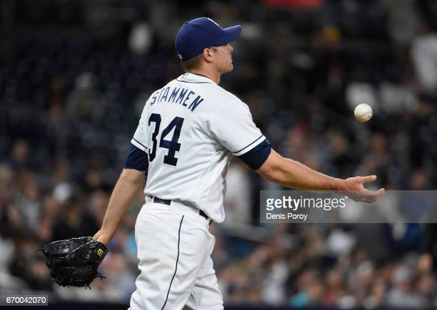 Craig Stammen of the San Diego Padres tosses the ball after giving up a three-run home run to Yasmany Tomas of the Arizona Diamondbacks during the...