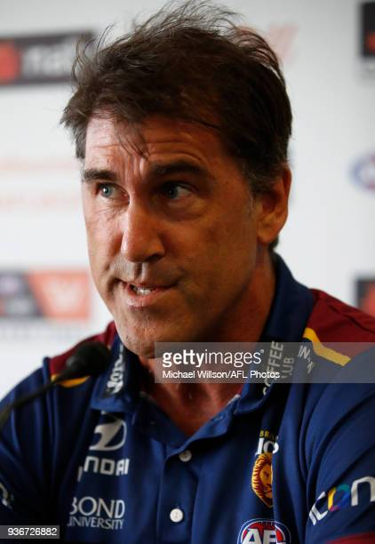 Craig Starcevich Senior Coach of the Lions speaks to the media during the AFLW Grand Final media opportunity at Ikon Park on March 23 2018 in...