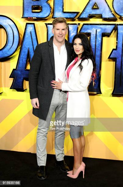 Craig Stevens and guest attend the European Premiere of 'Black Panther' at Eventim Apollo on February 8 2018 in London England