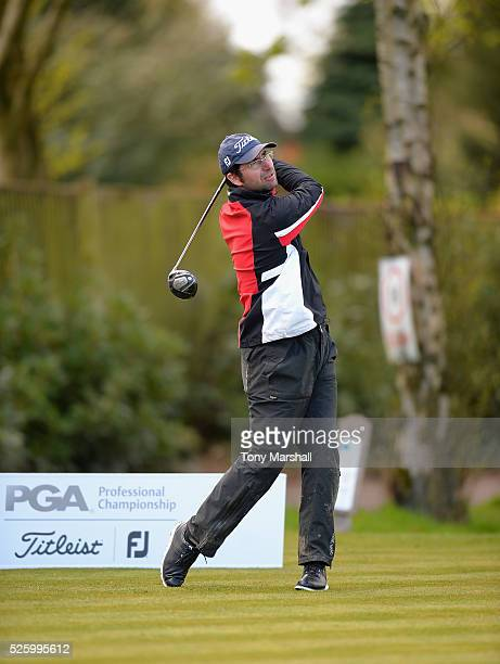 Craig Swinburn of Shirland Golf Club plays his first shot on the 1st tee during the PGA Professional Championship Midland Qualifier at Little Aston...